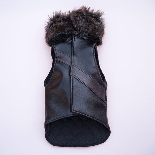 abrigo negro con pelo para perro