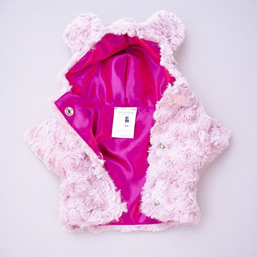 abrigo rosa para perro con gorro