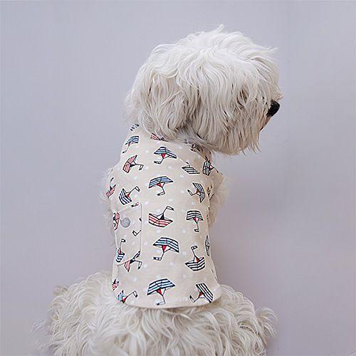 camiseta para perro con dibujos de barquitos